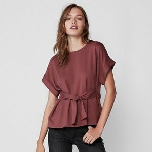 Express Tie Waist Rolled Short Sleeve Blouse